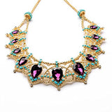 Golden Rhinestone Crystal Fashion Necklace