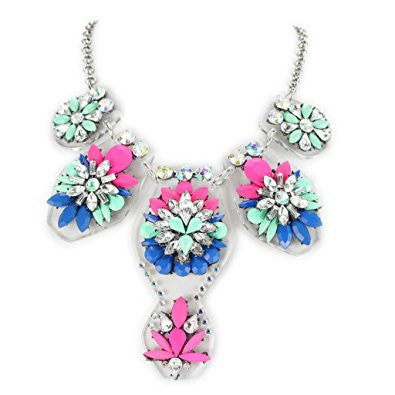 Colorful Rhinestone Crystal Flower Fashion Necklace