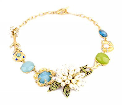 Rhinestone Crystal Bean Flower Fashion Necklace