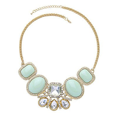 Light Blue Crystal Beaded Chain Luxury Necklace