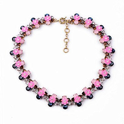 Flowerette Rhinestone and Crystal Fashion Necklace