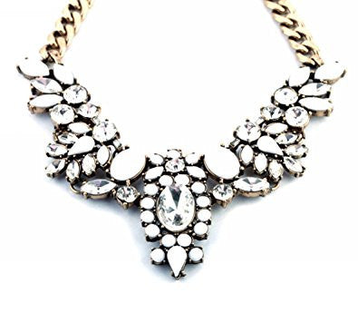Rhinestone Crystal Resin Statement Fashion Necklace