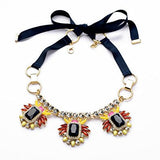 Ribbon Vintage Necklace with Rhinestone for Women