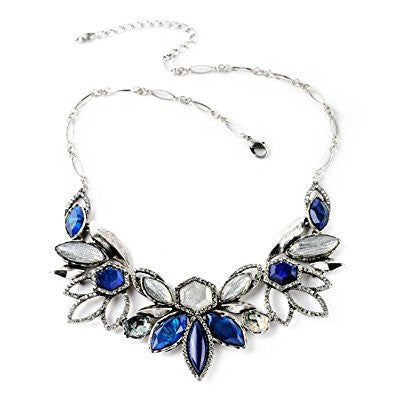 Navy Blue Rhinestone Crystal Party Fashion Necklace