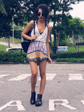 Casual Floral Dress White Purple Spaghetti Strap Backless Dress