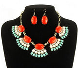 Set of Golden Chain Oval Resin Beads Necklace with Earrings
