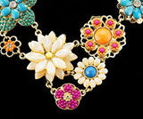 Multicolor Golden Tone Resin Flower Statement Fashion Necklace