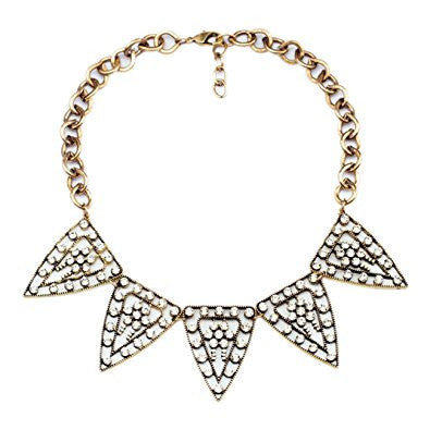Turkish Silver Tone Triangle Hollow Crystal Vintage Necklace