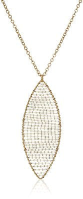Grey Crystal Beaded Marquis Pendant Necklace