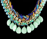 Turquoise Trendy Necklace with Teardrop Stones
