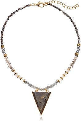 Labradorite Beaded Triangle Pendant Choker