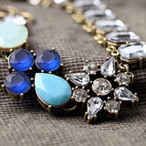 Clear Rhinestone Blue Flower Sweater Stylish Necklace