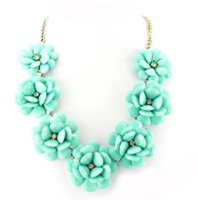 Turquoise Golden Plated 7 Flowers Fashion Necklace