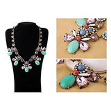 Crystal Color Faced Rhinestone Bling Vintage Necklace