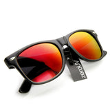 RETRO MATTE BLACK FLASH MIRRORED LENS HORNED RIM SUNGLASSES 8025d