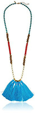 Multicolor Natural Stones Tassel Necklace