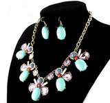 Necklace and Earrings Crystal Resin Trendy Set
