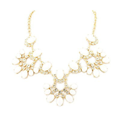 Oblong Cut Resin Rhinestone Fashion Necklace