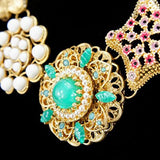 Multicolor Golden Rhinestone Resin Fashion Necklace