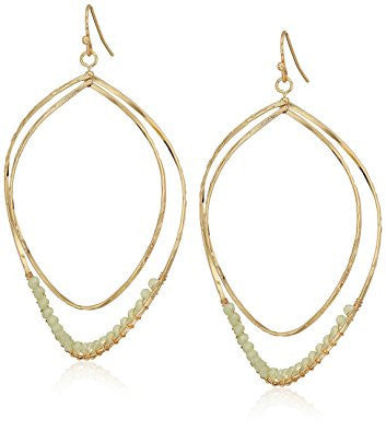 Gold Crystal Twist Teardrop Hoop Earrings