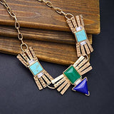 Colorful Rhinestone Pendant Chunky Necklace