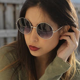 OVERSIZE VINTAGE INSPIRED METAL ROUND CIRCLE SUNGLASSES 8370d-A