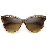 HIGH POINTED TIP INSET FRAME OVERSIZE CAT EYE SUNGLASSES 8462d-A