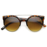 RETRO CIRCLE CAT EYE SUPER HALF FRAME FLAT BAR SUNGLASSES 8525d-A