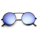 LARGE RETRO ROUND STEAMPUNK MIRRORED LENS SUNGLASSES 8759d-A
