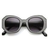 WOMEN'S FASHION BLOCK CUT HEXAGON OVERSIZE SUNGLASSES 9158e-A