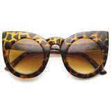 DESIGNER OVERSIZE ROUND CIRCLE POINTED CAT EYE SUNGLASSES 9180d-A