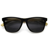 ECO INDIE BAMBOO WOOD TWO TONE HORNED RIM SUNGLASSES 9229d-A