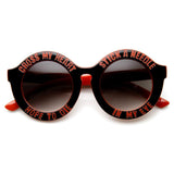 WOMEN'S OVERSIZE ROUND CROSS MY HEART HOPE TO DIE SUNGLASSES 9318d-A