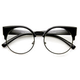INDIE HIPSTER ROUND CAT EYE CLEAR LENS HALF FRAME GLASSES 9351f-A
