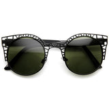 WOMEN'S INDIE ROUND METAL LASER CUT MESH CAT EYE 9432e-A