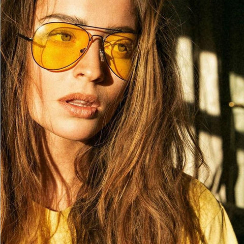 RETRO LARGE METAL AVIATOR SUNGLASSES WITH YELLOW DRIVING LENS 9461d