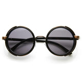 STEAMPUNK STUDIO COVER FAUX LEATHER SHIELD ROUND SUNGLASSES 9483f-A