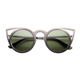 WOMEN'S INDIE ROUND LASER CUT METAL CAT EYE SUNGLASSES 9788d-A