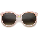 WOMEN'S OVERSIZE ROUND MARBLE CAT EYE SUNGLASSES A241-01-A