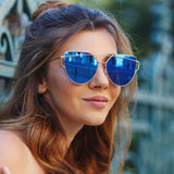OVERSIZE THIN CROSS BROW MIRRORED FLAT LENS SUNGLASSES A545-02-A