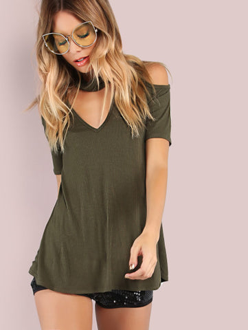 Army Green Cold Shoulder Choker V Neck Top Shirt