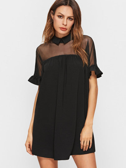 Black Mesh Shoulder Collar Babydoll Dress