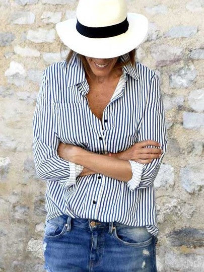 Button Up Blue and White Striped Blouse