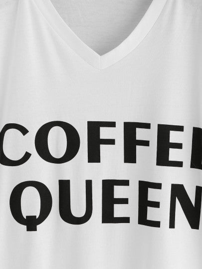 Coffee Queen Print White V Neck Tee