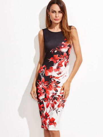 Floral Print Split Black and White Dress