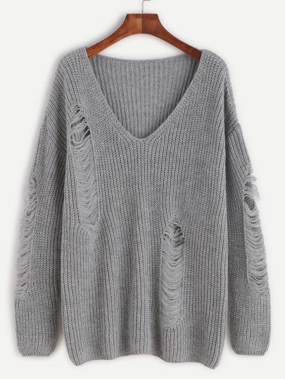 Grey V Neck Ripped Sweater