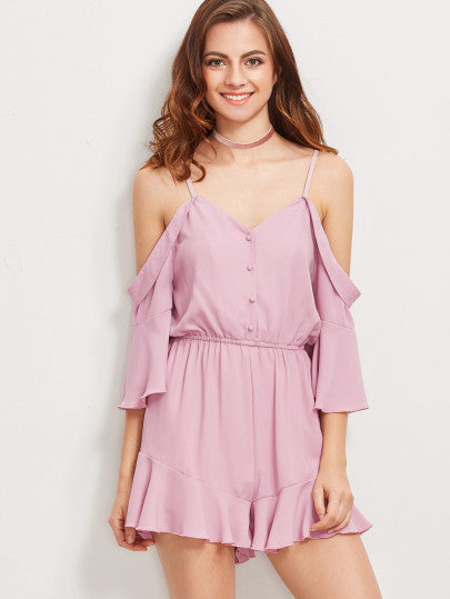 Pink Cold Shoulder Button Up Playsuit