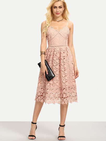 Pink Lace Crochet Hollow Out Flare Maxi Cami Trendy Chic Dress