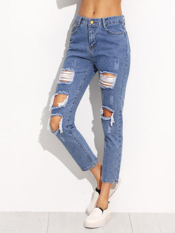 Ripped Denim Jean Pants with High Ankle Cut