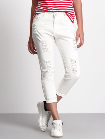 Ripped White Denim Jean Capri Pants